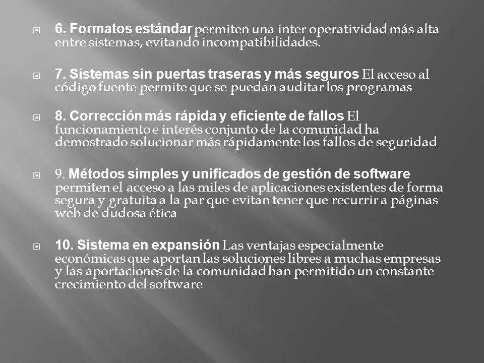 6. Formatos estándar permiten una inter operatividad más alta entre sistemas, evitando incompatibilidades.