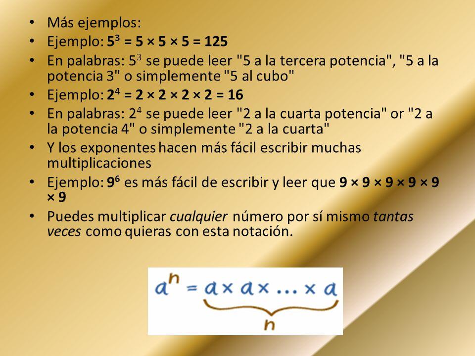 Más ejemplos: Ejemplo: 53 = 5 × 5 × 5 = 125. En palabras: 53 se puede leer 5 a la tercera potencia , 5 a la potencia 3 o simplemente 5 al cubo