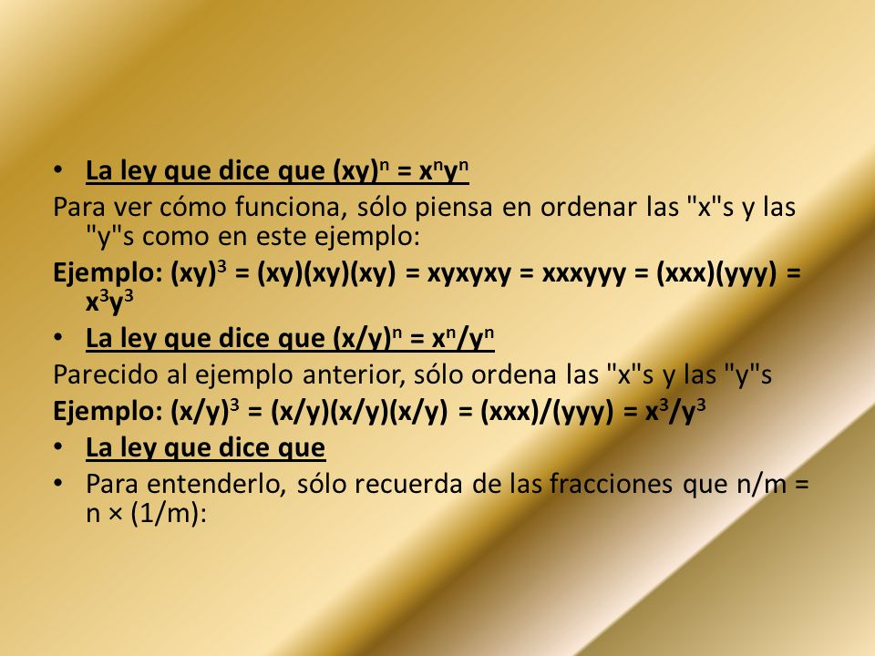 La ley que dice que (xy)n = xnyn