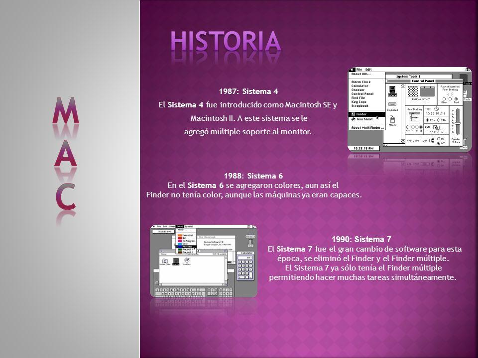 HISTORIA M. A. C. 1987: Sistema 4. El Sistema 4 fue introducido como Macintosh SE y. Macintosh II. A este sistema se le.