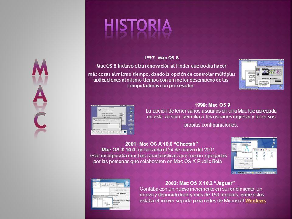 HISTORIA M. A. C. 1997: Mac OS 8. Mac OS 8 incluyó otra renovación al Finder que podía hacer.