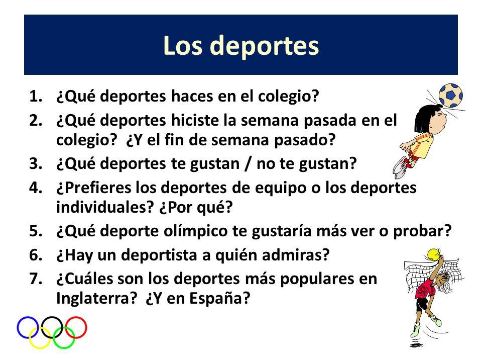 Los deportes ¿Qué deportes haces en el colegio