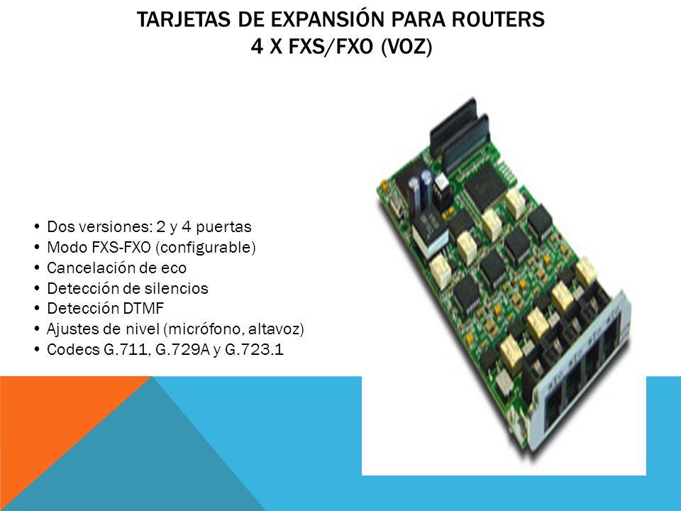 Tarjetas de Expansión para Routers 4 x FXS/FXO (Voz)