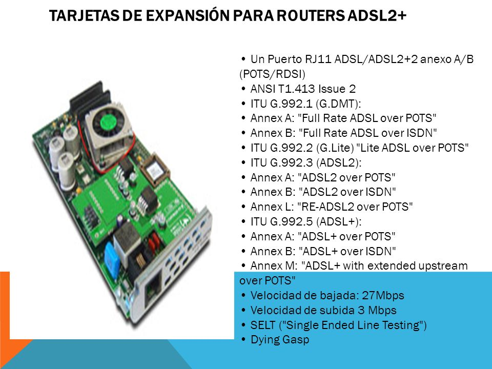 Tarjetas de Expansión para Routers ADSL2+