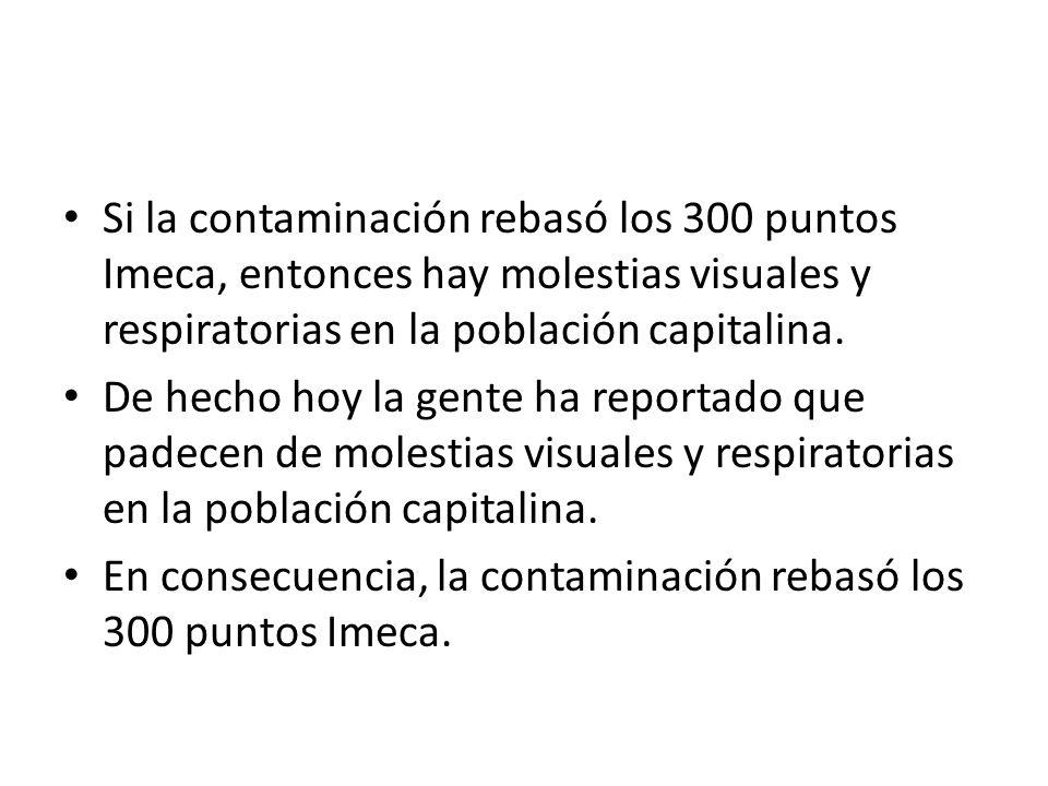 Si la contaminación rebasó los 300 puntos Imeca, entonces hay molestias visuales y respiratorias en la población capitalina.