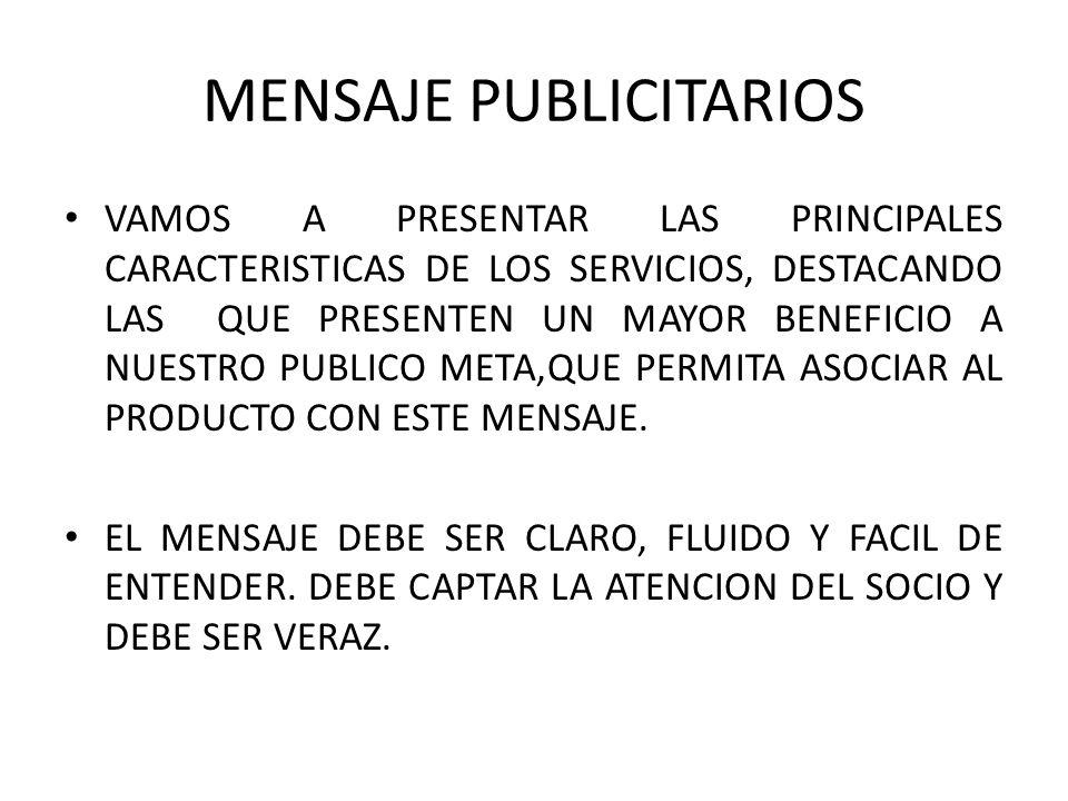 MENSAJE PUBLICITARIOS