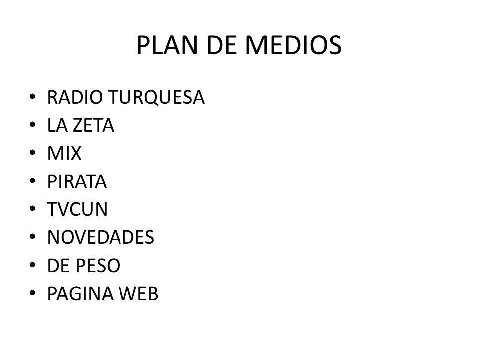 PLAN DE MEDIOS RADIO TURQUESA LA ZETA MIX PIRATA TVCUN NOVEDADES