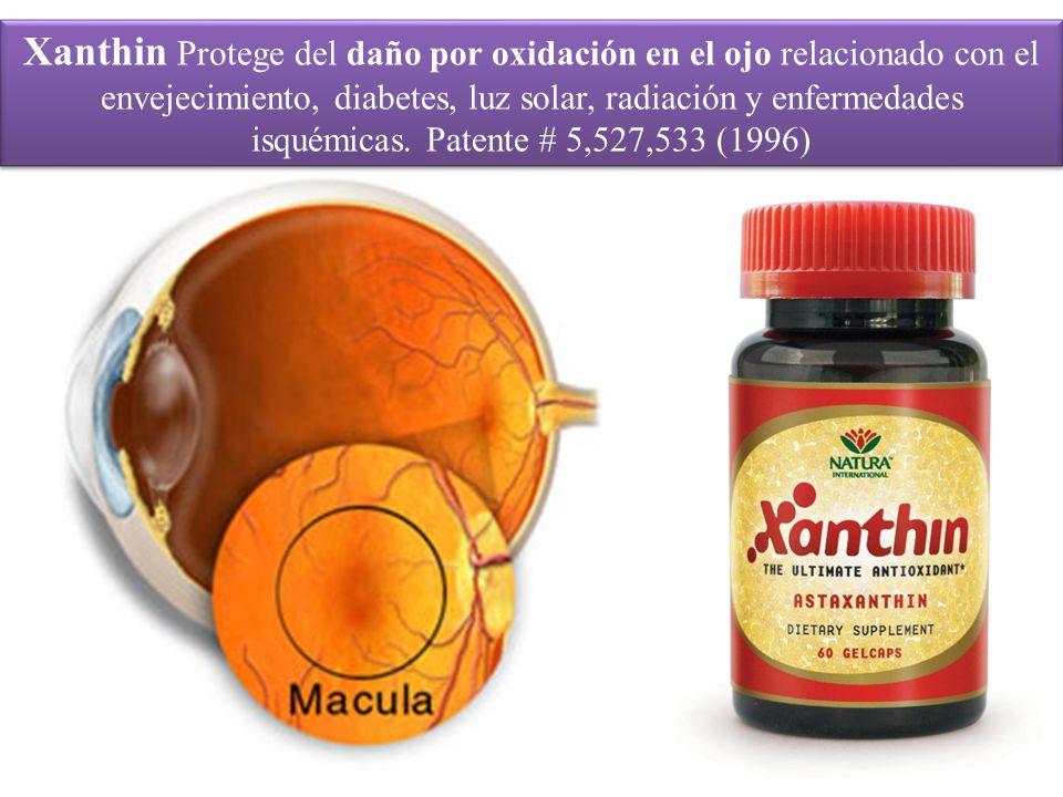 Xanthin Protege del daño por oxidación en el ojo relacionado con el envejecimiento, diabetes, luz solar, radiación y enfermedades isquémicas.