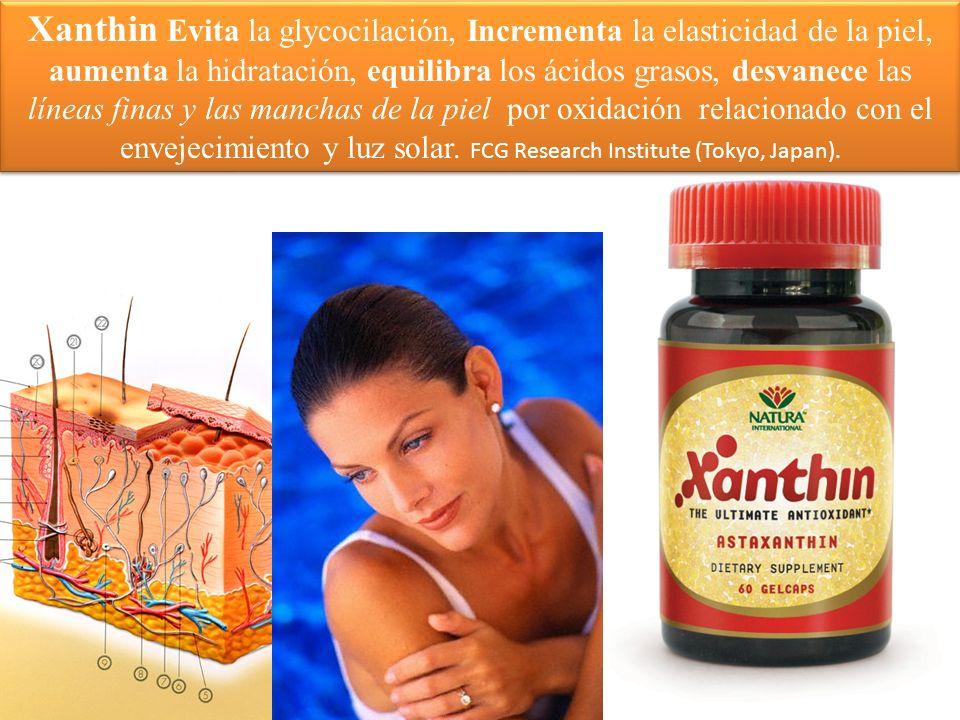 Xanthin Evita la glycocilación, Incrementa la elasticidad de la piel, aumenta la hidratación, equilibra los ácidos grasos, desvanece las líneas finas y las manchas de la piel por oxidación relacionado con el envejecimiento y luz solar.