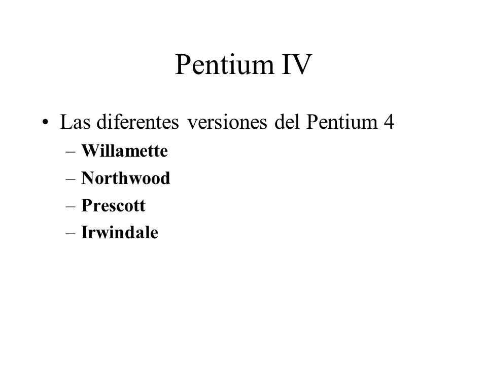 Pentium IV Las diferentes versiones del Pentium 4 Willamette Northwood