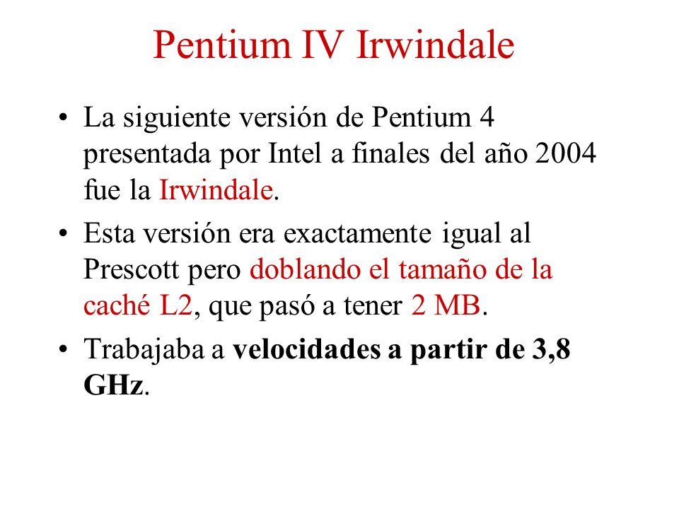 Pentium IV Irwindale La siguiente versión de Pentium 4 presentada por Intel a finales del año 2004 fue la Irwindale.