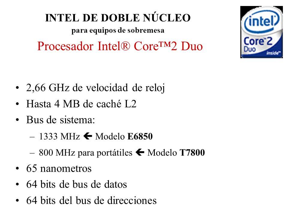 2,66 GHz de velocidad de reloj Hasta 4 MB de caché L2 Bus de sistema: