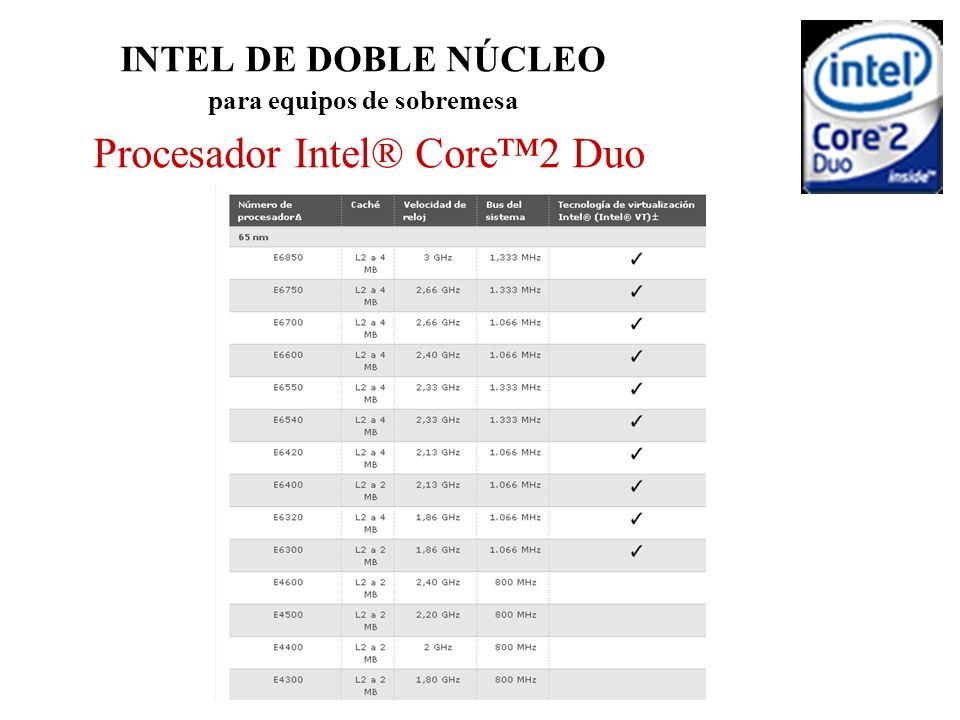 INTEL DE DOBLE NÚCLEO para equipos de sobremesa Procesador Intel® Core™2 Duo