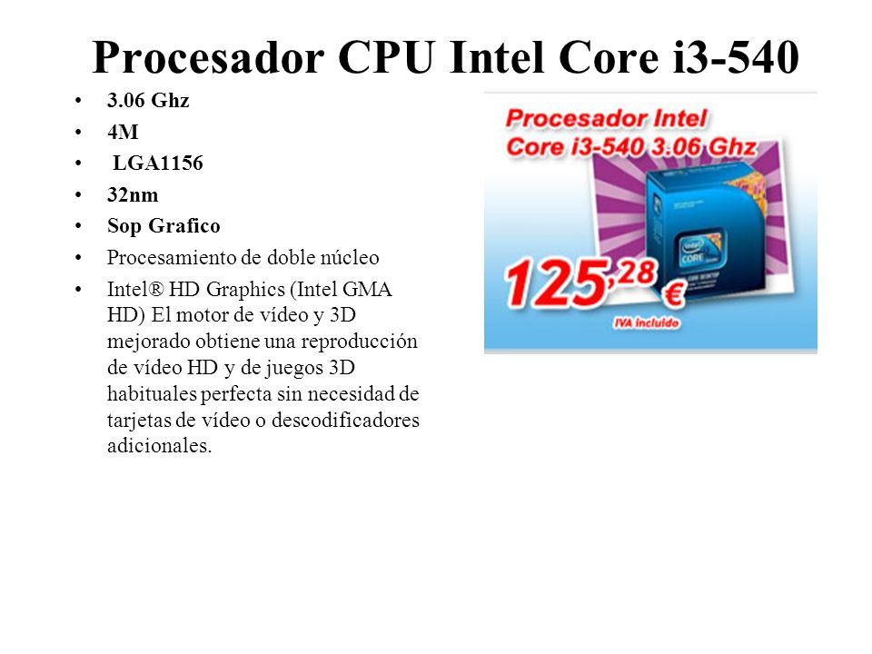 Procesador CPU Intel Core i3-540