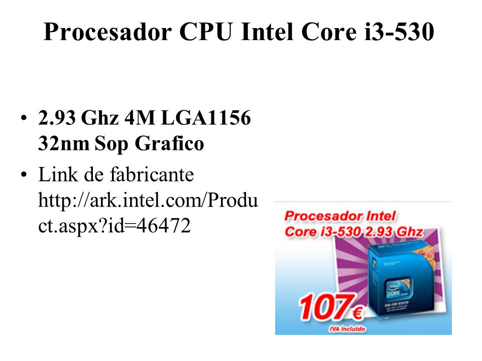 Procesador CPU Intel Core i3-530