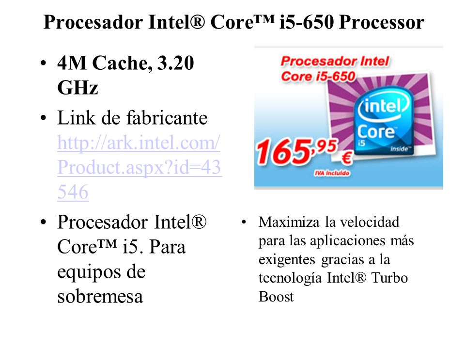Procesador Intel® Core™ i5-650 Processor