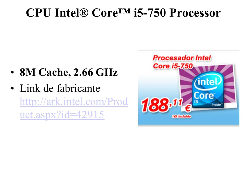 CPU Intel® Core™ i5-750 Processor