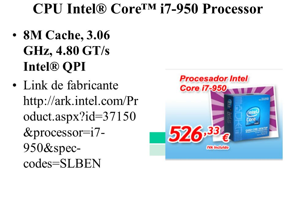 CPU Intel® Core™ i7-950 Processor