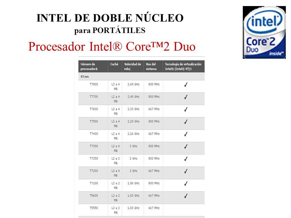 INTEL DE DOBLE NÚCLEO para PORTÁTILES Procesador Intel® Core™2 Duo