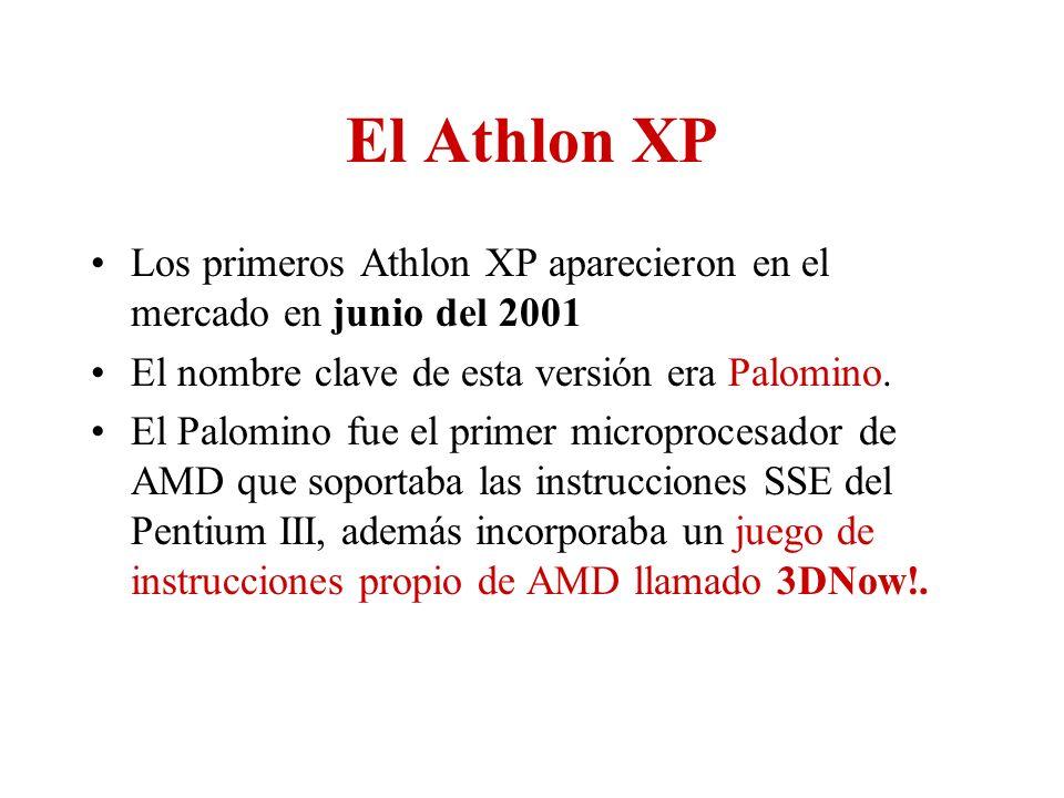 El Athlon XP Los primeros Athlon XP aparecieron en el mercado en junio del 2001. El nombre clave de esta versión era Palomino.
