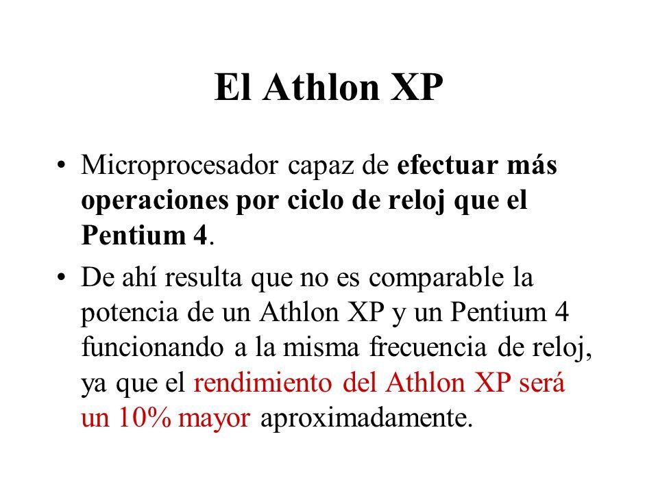 El Athlon XP Microprocesador capaz de efectuar más operaciones por ciclo de reloj que el Pentium 4.