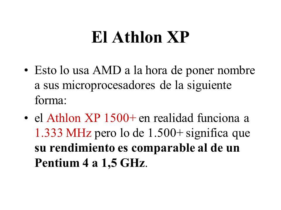El Athlon XP Esto lo usa AMD a la hora de poner nombre a sus microprocesadores de la siguiente forma: