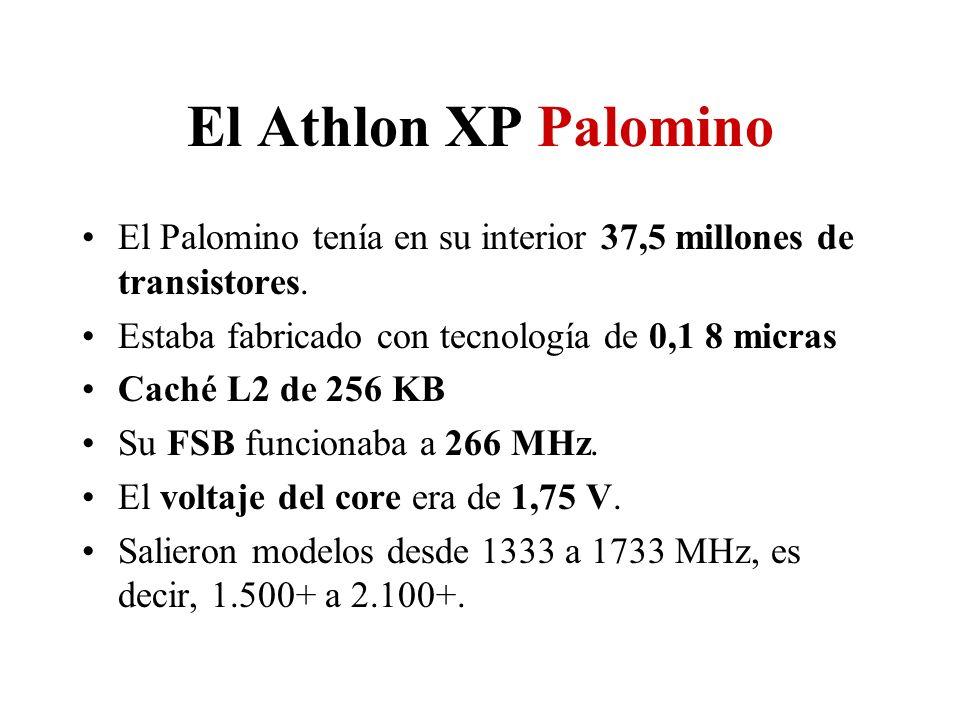 El Athlon XP Palomino El Palomino tenía en su interior 37,5 millones de transistores. Estaba fabricado con tecnología de 0,1 8 micras.