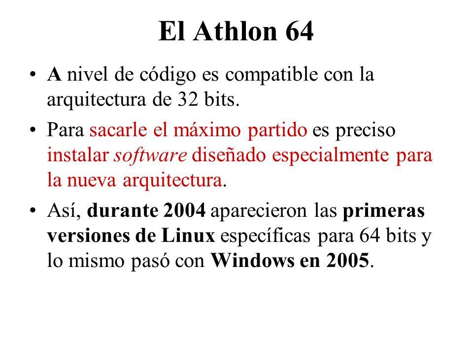 El Athlon 64 A nivel de código es compatible con la arquitectura de 32 bits.