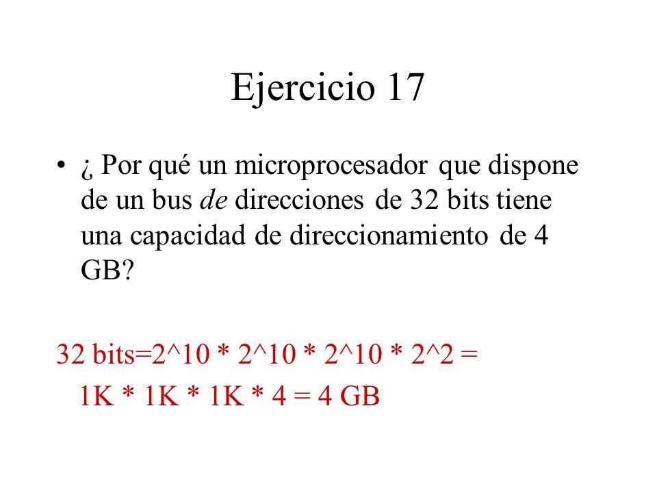 Ejercicio 17 ¿ Por qué un microprocesador que dispone de un bus de direcciones de 32 bits tiene una capacidad de direccionamiento de 4 GB