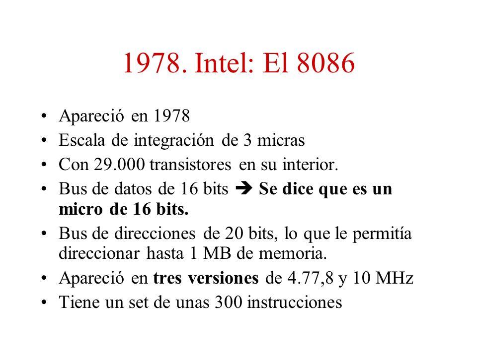 1978. Intel: El 8086 Apareció en 1978. Escala de integración de 3 micras. Con 29.000 transistores en su interior.