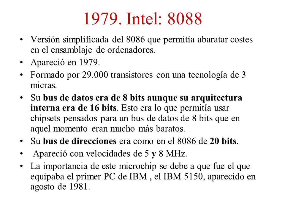1979. Intel: 8088 Versión simplificada del 8086 que permitía abaratar costes en el ensamblaje de ordenadores.