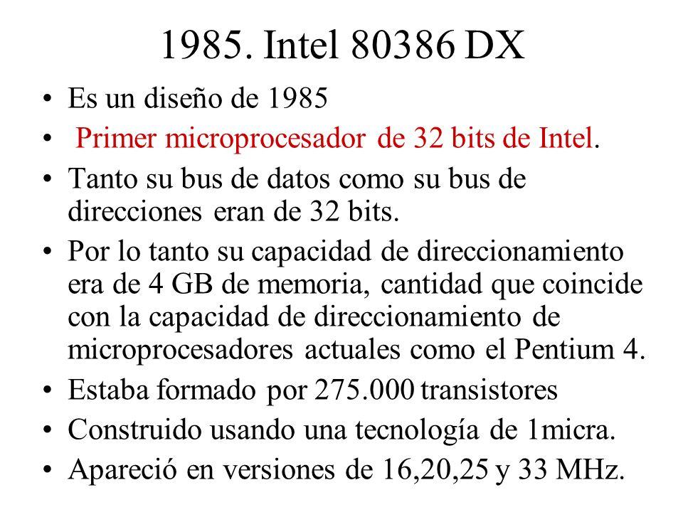 1985. Intel 80386 DX Es un diseño de 1985. Primer microprocesador de 32 bits de Intel.