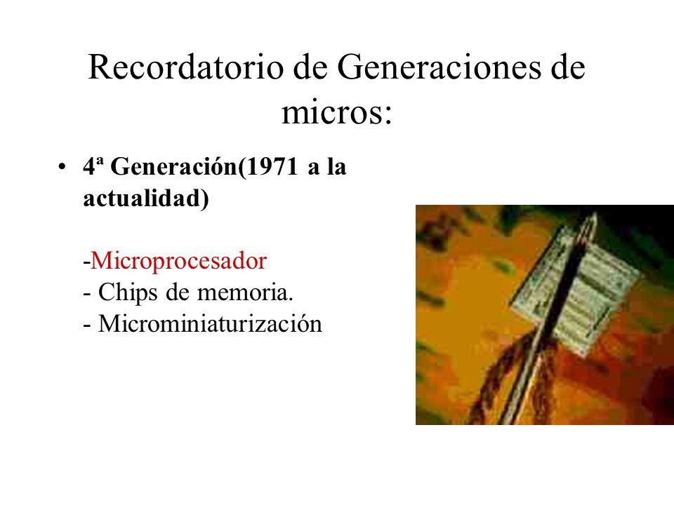 Recordatorio de Generaciones de micros: