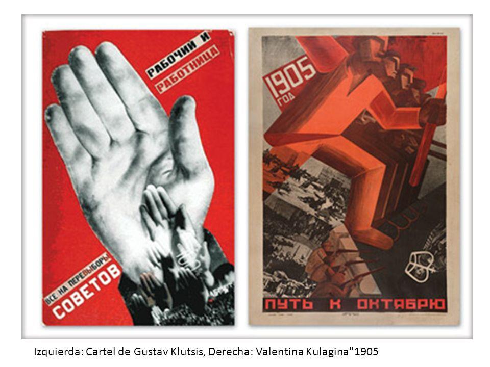 Izquierda: Cartel de Gustav Klutsis, Derecha: Valentina Kulagina 1905