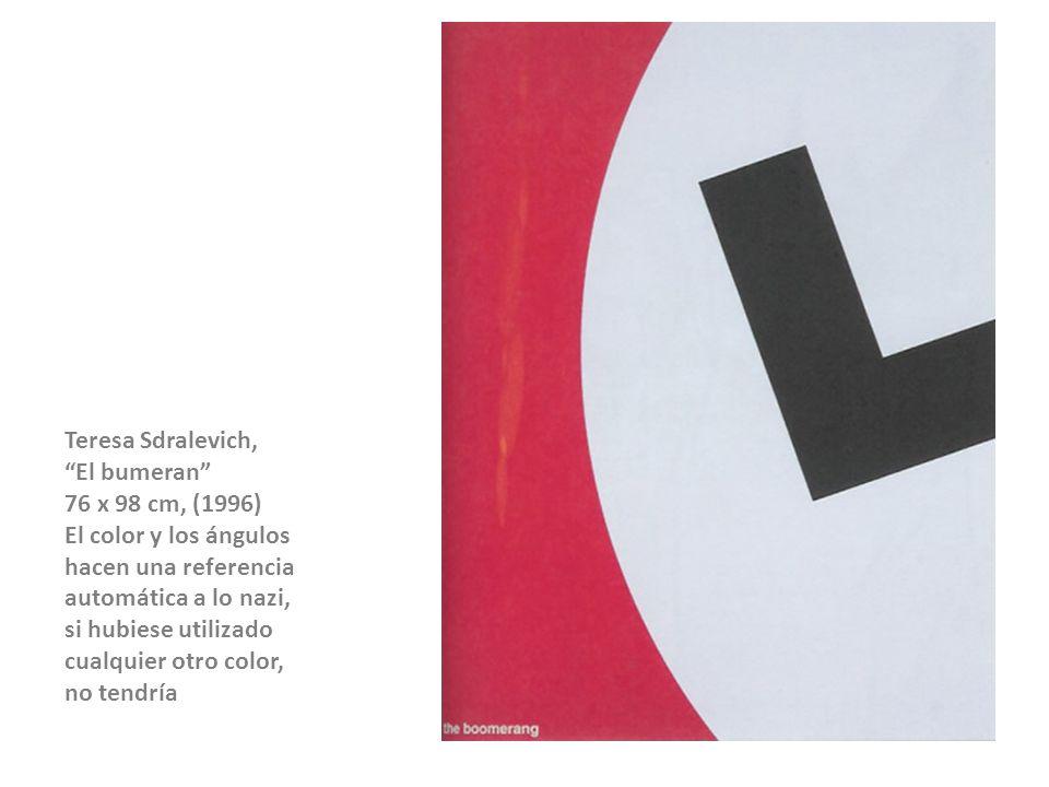 Teresa Sdralevich, El bumeran 76 x 98 cm, (1996) El color y los ángulos. hacen una referencia.