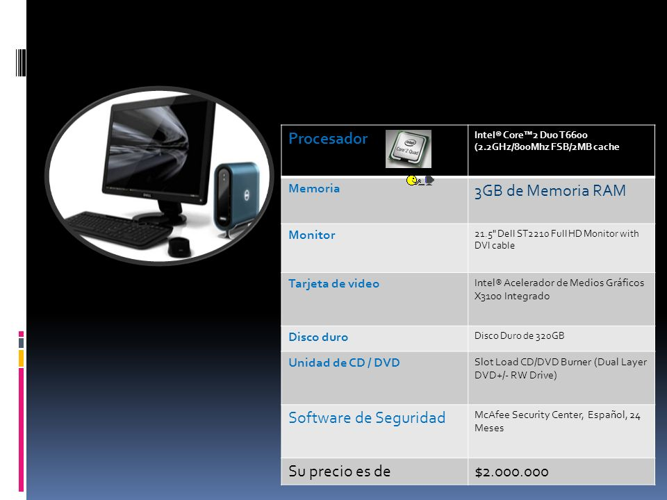 Procesador 3GB de Memoria RAM Software de Seguridad Su precio es de