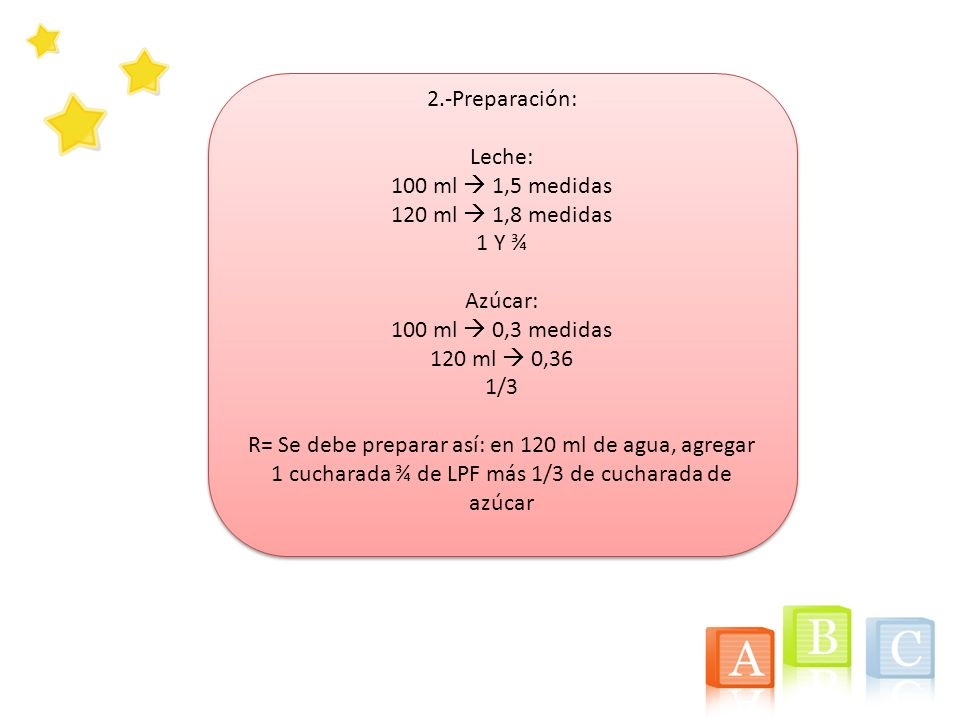 2.-Preparación: Leche: 100 ml  1,5 medidas. 120 ml  1,8 medidas. 1 Y ¾. Azúcar: 100 ml  0,3 medidas.