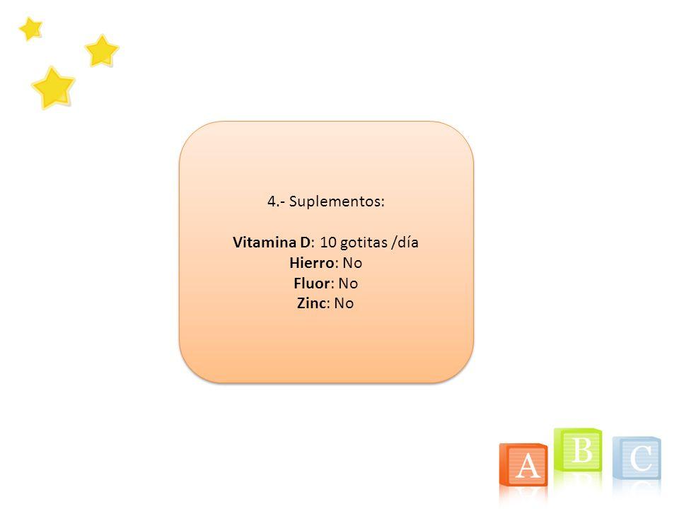 Vitamina D: 10 gotitas /día