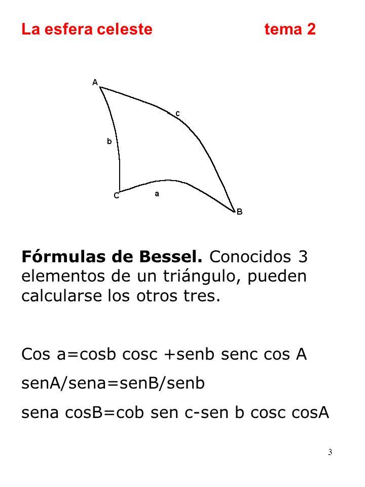 La esfera celeste tema 2 Fórmulas de Bessel. Conocidos 3 elementos de un triángulo, pueden calcularse los otros tres.