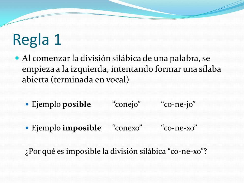 Regla 1 Al comenzar la división silábica de una palabra, se empieza a la izquierda, intentando formar una sílaba abierta (terminada en vocal)