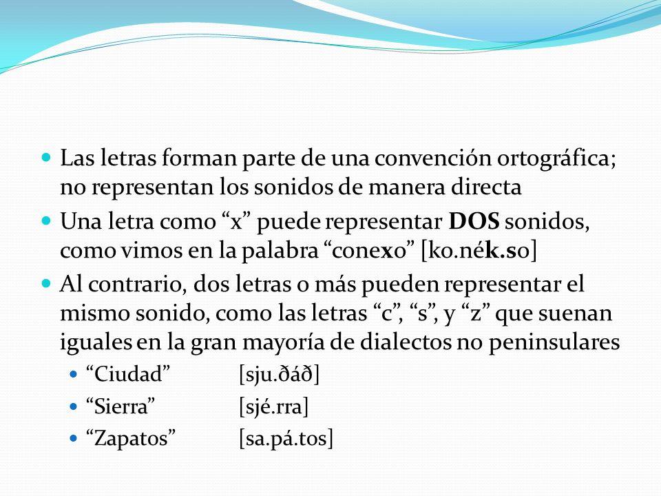 Las letras forman parte de una convención ortográfica; no representan los sonidos de manera directa