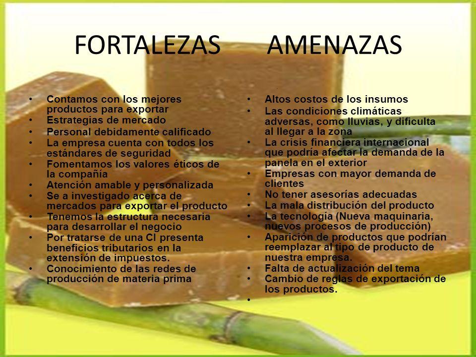 FORTALEZAS AMENAZAS Contamos con los mejores productos para exportar