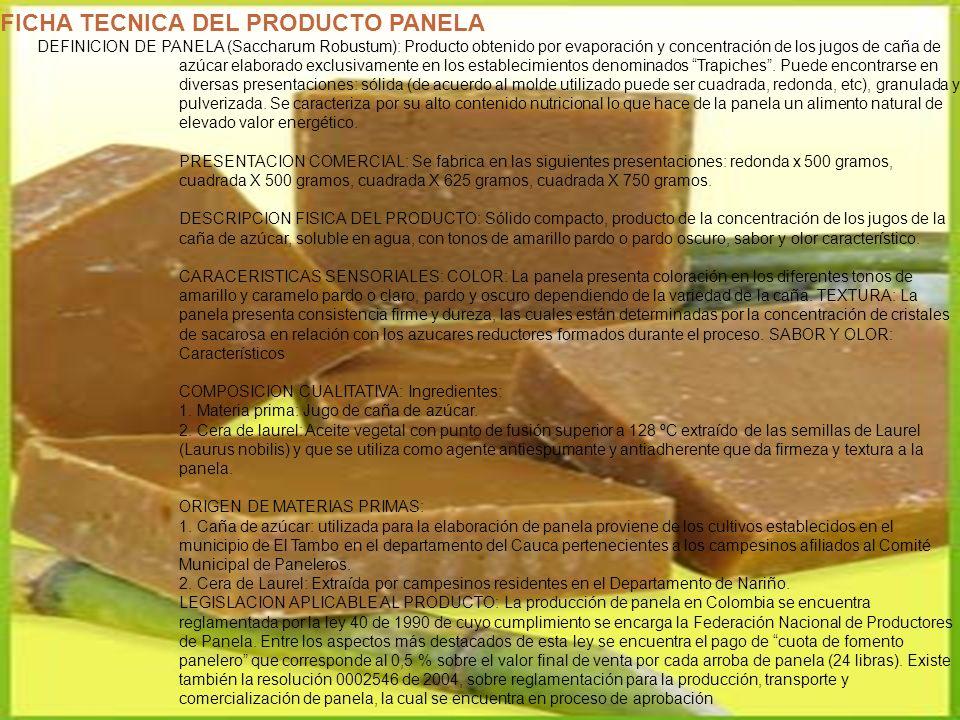 FICHA TECNICA DEL PRODUCTO PANELA