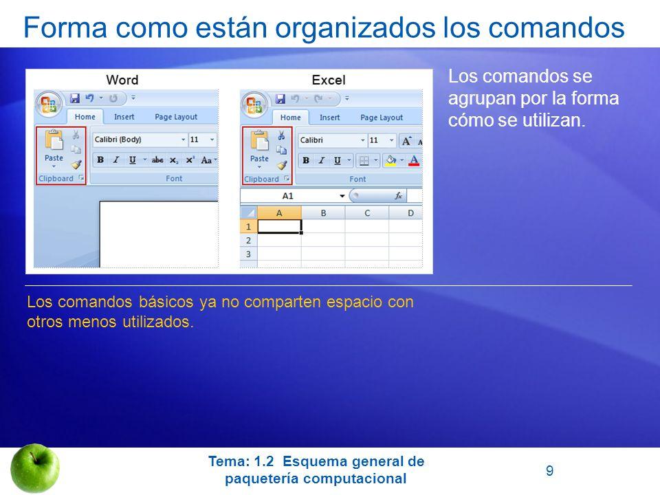 Forma como están organizados los comandos