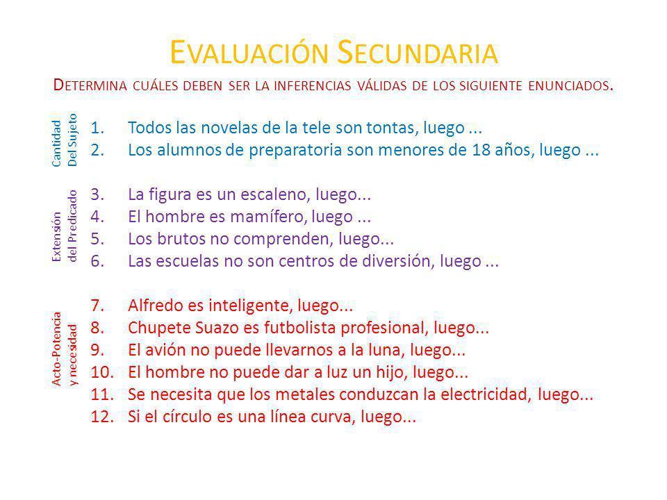 Evaluación Secundaria Determina cuáles deben ser la inferencias válidas de los siguiente enunciados.