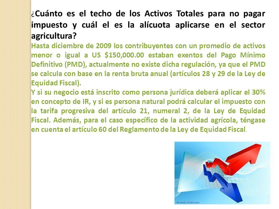 ¿Cuánto es el techo de los Activos Totales para no pagar impuesto y cuál el es la alícuota aplicarse en el sector agricultura
