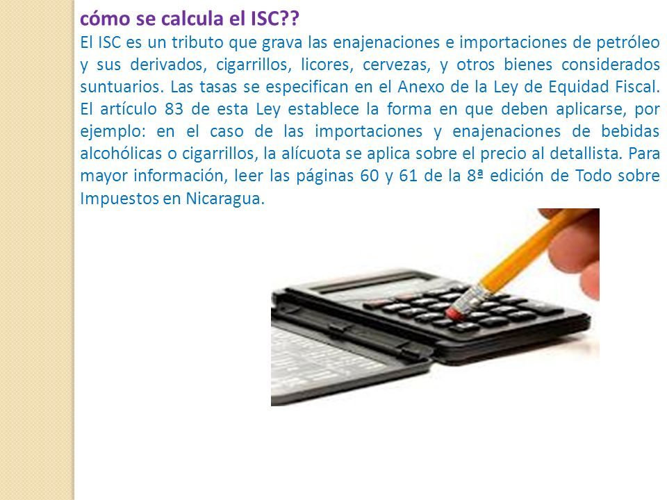 cómo se calcula el ISC