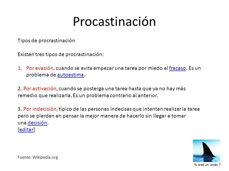 Procastinación Tipos de procrastinación