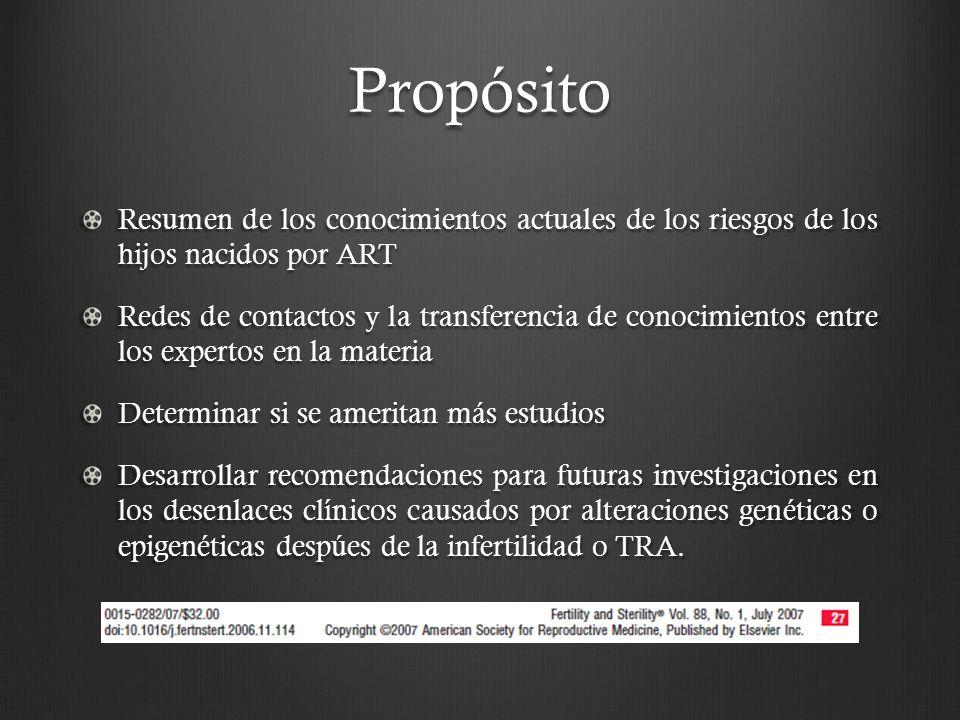 Propósito Resumen de los conocimientos actuales de los riesgos de los hijos nacidos por ART.