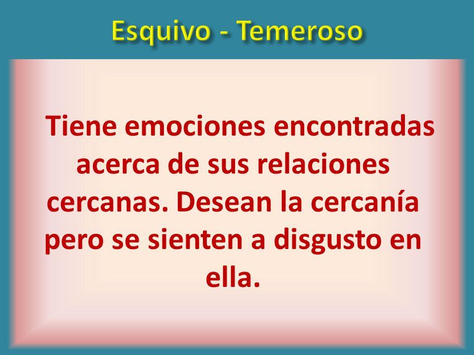 Esquivo - TemerosoTiene emociones encontradas acerca de sus relaciones cercanas.